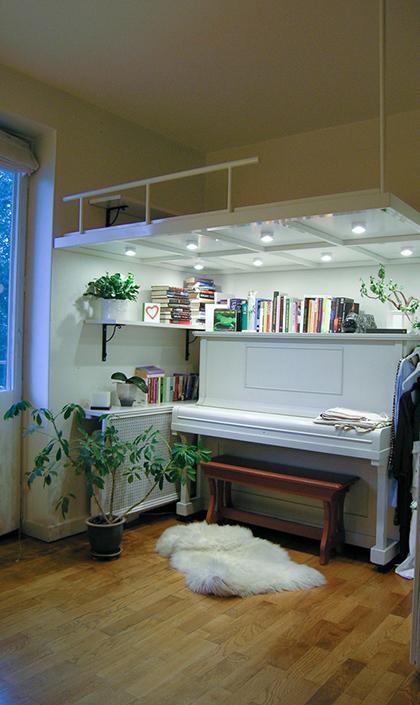 ett loft ger fri yta till ett piano