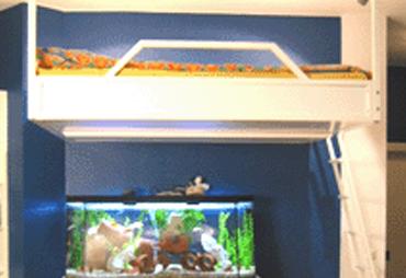 Vit loftsäng monterad ovanför ett akvarium!!